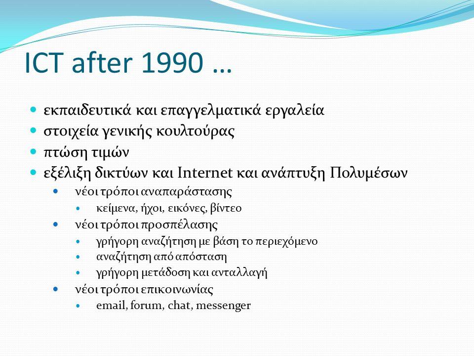 ICT after 1990 … εκπαιδευτικά και επαγγελματικά εργαλεία στοιχεία γενικής κουλτούρας πτώση τιμών εξέλιξη δικτύων και Internet και ανάπτυξη Πολυμέσων νέοι τρόποι αναπαράστασης κείμενα, ήχοι, εικόνες, βίντεο νέοι τρόποι προσπέλασης γρήγορη αναζήτηση με βάση το περιεχόμενο αναζήτηση από απόσταση γρήγορη μετάδοση και ανταλλαγή νέοι τρόποι επικοινωνίας email, forum, chat, messenger