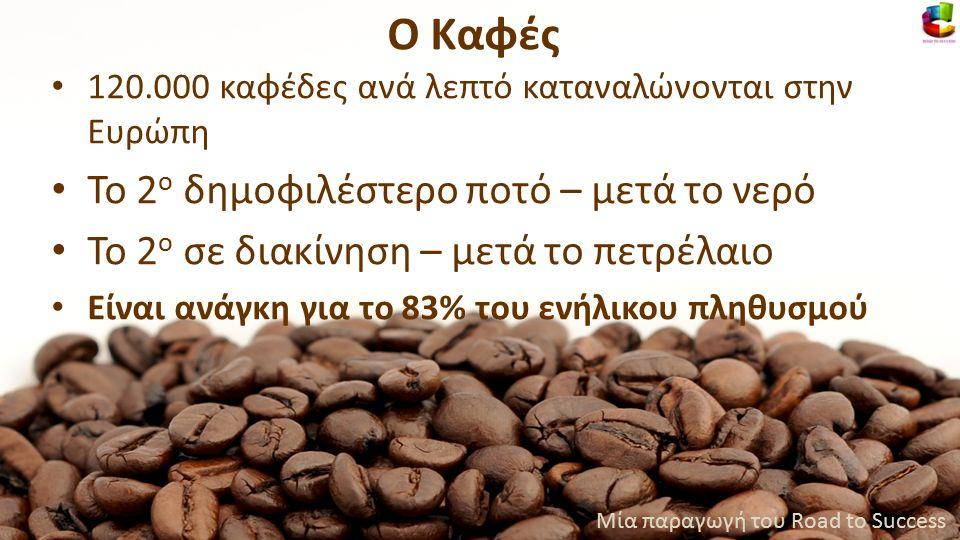 120.000 καφέδες ανά λεπτό καταναλώνονται στην Ευρώπη Το 2 ο δημοφιλέστερο ποτό – μετά το νερό Το 2 ο σε διακίνηση – μετά το πετρέλαιο Είναι ανάγκη για το 83% του ενήλικου πληθυσμού Μία παραγωγή του Road to Success Ο Καφές