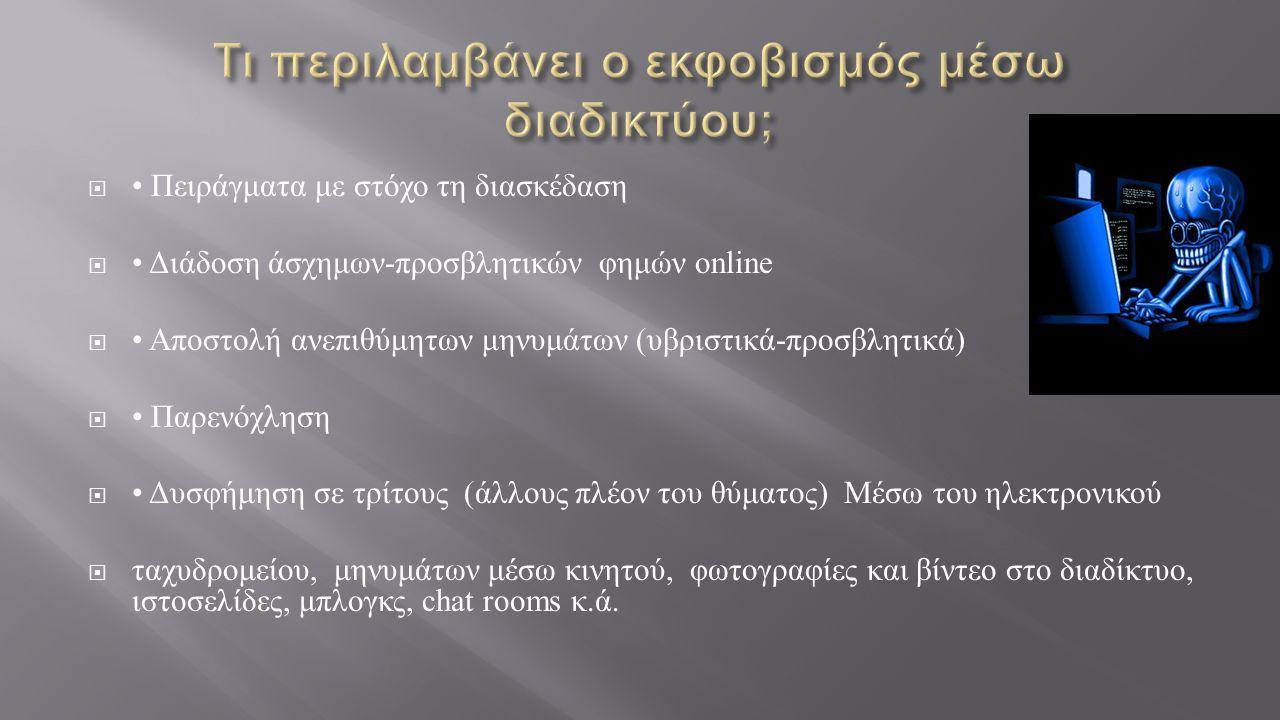  Πειράγματα με στόχο τη διασκέδαση  Διάδοση άσχημων - προσβλητικών φημών online  Αποστολή ανεπιθύμητων μηνυμάτων ( υβριστικά - προσβλητικά )  Παρενόχληση  Δυσφήμηση σε τρίτους ( άλλους πλέον του θύματος ) Μέσω του ηλεκτρονικού  ταχυδρομείου, μηνυμάτων μέσω κινητού, φωτογραφίες και βίντεο στο διαδίκτυο, ιστοσελίδες, μπλογκς, chat rooms κ.