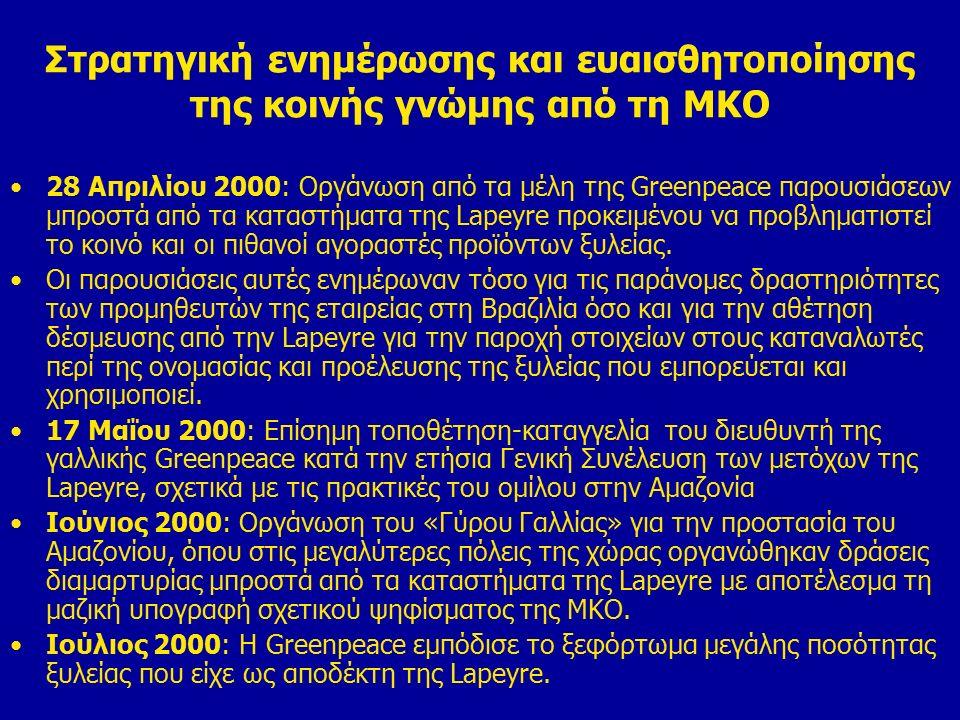 Στρατηγική ενημέρωσης και ευαισθητοποίησης της κοινής γνώμης από τη ΜΚΟ 28 Απριλίου 2000: Οργάνωση από τα μέλη της Greenpeace παρουσιάσεων μπροστά από τα καταστήματα της Lapeyre προκειμένου να προβληματιστεί το κοινό και οι πιθανοί αγοραστές προϊόντων ξυλείας.