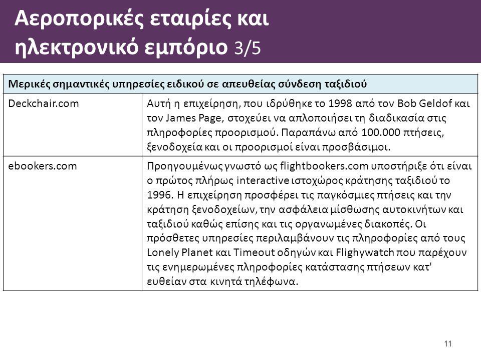 Αεροπορικές εταιρίες και ηλεκτρονικό εμπόριο 3/5 11 Μερικές σημαντικές υπηρεσίες ειδικού σε απευθείας σύνδεση ταξιδιού Deckchair.comΑυτή η επιχείρηση,