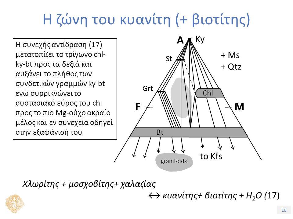 16 Η ζώνη του κυανίτη (+ βιοτίτης) Η συνεχής αντίδραση (17) μετατοπίζει το τρίγωνο chl- ky-bt προς τα δεξιά και αυξάνει το πλήθος των συνδετικών γραμμών ky-bt ενώ συρρικνώνει το συστασιακό εύρος του chl προς το πιο Mg-ούχο ακραίο μέλος και εν συνεχεία οδηγεί στην εξαφάνισή του + Ms + Qtz Ky A FM to Kfs granitoids Chl Bt St Grt Χλωρίτης + μοσχοβίτης+ χαλαζίας ↔ κυανίτης+ βιοτίτης + H 2 O (17)