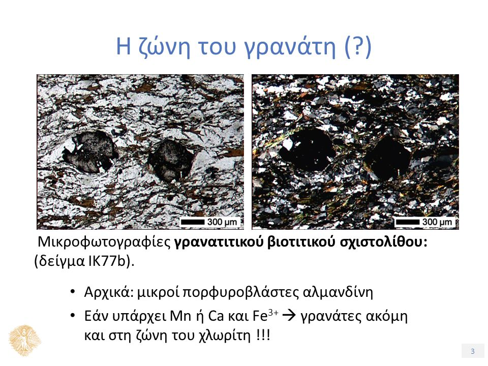 3 Η ζώνη του γρανάτη (?) Μικροφωτογραφίες γρανατιτικού βιοτιτικού σχιστολίθου: (δείγμα ΙΚ77b).