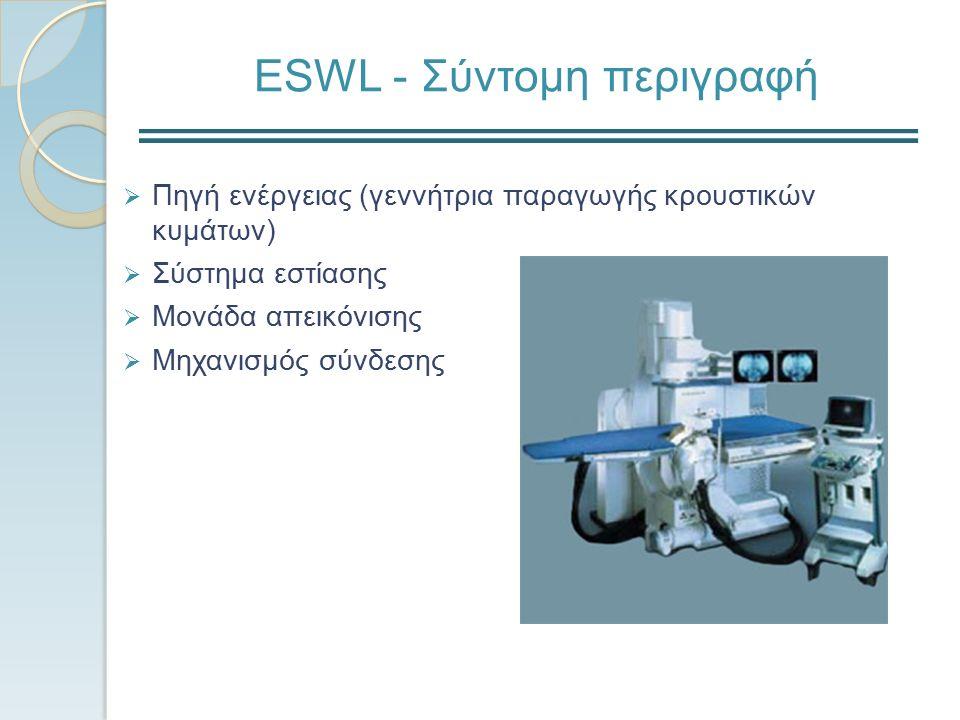 ESWL - Σύντομη περιγραφή  Πηγή ενέργειας (γεννήτρια παραγωγής κρουστικών κυμάτων)  Σύστημα εστίασης  Μονάδα απεικόνισης  Μηχανισμός σύνδεσης