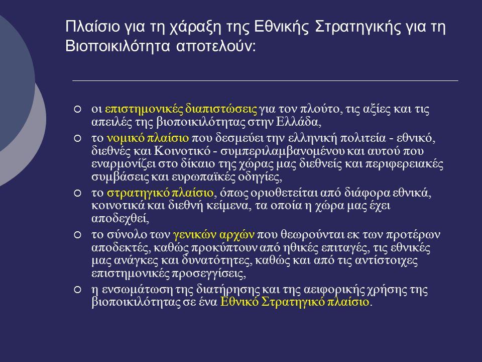Πλαίσιο για τη χάραξη της Εθνικής Στρατηγικής για τη Βιοποικιλότητα αποτελούν:  οι επιστημονικές διαπιστώσεις για τον πλούτο, τις αξίες και τις απειλές της βιοποικιλότητας στην Ελλάδα,  το νομικό πλαίσιο που δεσμεύει την ελληνική πολιτεία - εθνικό, διεθνές και Κοινοτικό - συμπεριλαμβανομένου και αυτού που εναρμονίζει στο δίκαιο της χώρας μας διεθνείς και περιφερειακές συμβάσεις και ευρωπαϊκές οδηγίες,  το στρατηγικό πλαίσιο, όπως οριοθετείται από διάφορα εθνικά, κοινοτικά και διεθνή κείμενα, τα οποία η χώρα μας έχει αποδεχθεί,  το σύνολο των γενικών αρχών που θεωρούνται εκ των προτέρων αποδεκτές, καθώς προκύπτουν από ηθικές επιταγές, τις εθνικές μας ανάγκες και δυνατότητες, καθώς και από τις αντίστοιχες επιστημονικές προσεγγίσεις,  η ενσωμάτωση της διατήρησης και της αειφορικής χρήσης της βιοποικιλότητας σε ένα Εθνικό Στρατηγικό πλαίσιο.