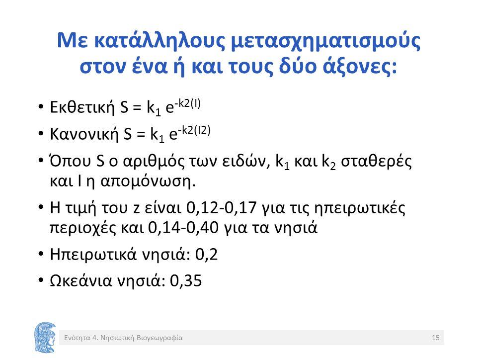 Με κατάλληλους μετασχηματισμούς στον ένα ή και τους δύο άξονες: Εκθετική S = k 1 e -k2(I) Κανονική S = k 1 e -k2(I2) Όπου S ο αριθμός των ειδών, k 1 και k 2 σταθερές και Ι η απομόνωση.