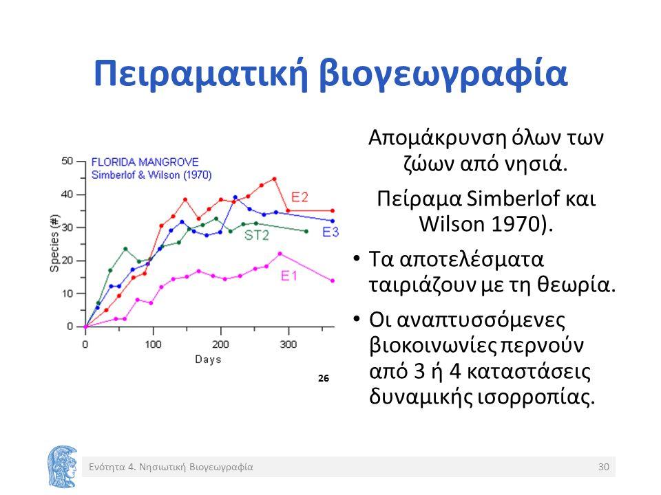 Πειραματική βιογεωγραφία Απομάκρυνση όλων των ζώων από νησιά. Πείραμα Simberlof και Wilson 1970). Τα αποτελέσματα ταιριάζουν με τη θεωρία. Οι αναπτυσσ