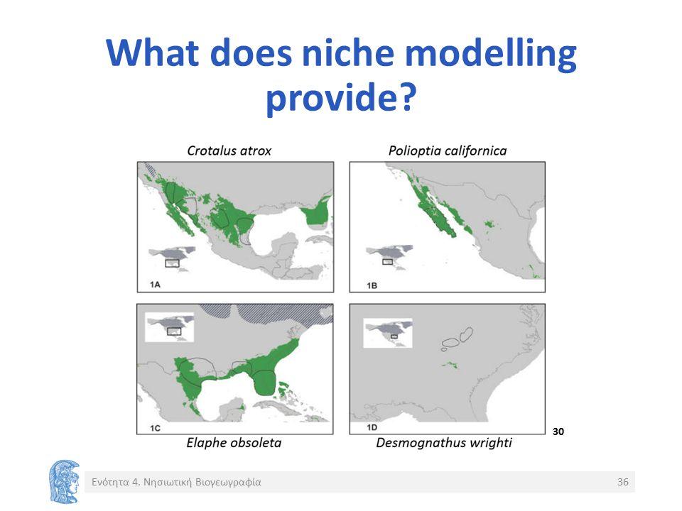 What does niche modelling provide? Ενότητα 4. Νησιωτική Βιογεωγραφία36 30
