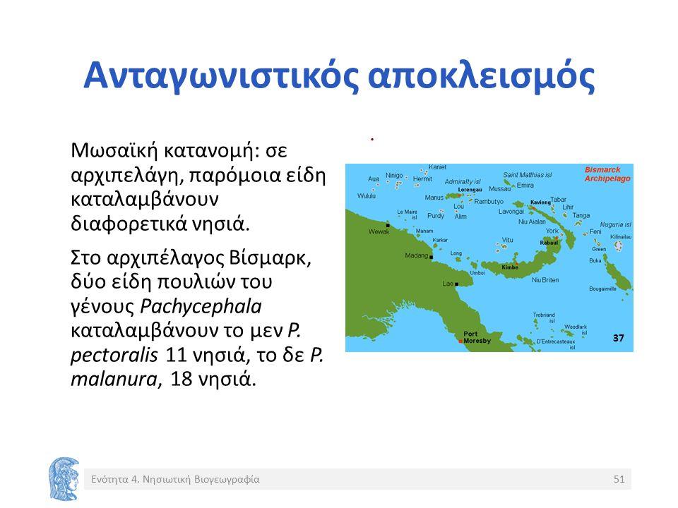 . Ανταγωνιστικός αποκλεισμός Μωσαϊκή κατανομή: σε αρχιπελάγη, παρόμοια είδη καταλαμβάνουν διαφορετικά νησιά. Στο αρχιπέλαγος Βίσμαρκ, δύο είδη πουλιών