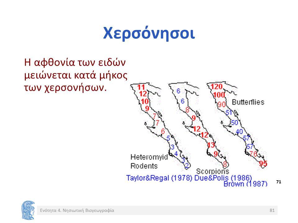 Χερσόνησοι Η αφθονία των ειδών μειώνεται κατά μήκος των χερσονήσων. Ενότητα 4. Νησιωτική Βιογεωγραφία81 71