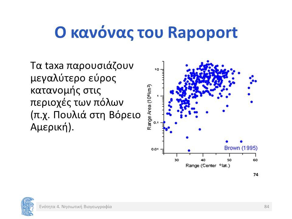 Ο κανόνας του Rapoport Τα taxa παρουσιάζουν μεγαλύτερο εύρος κατανομής στις περιοχές των πόλων (π.χ.