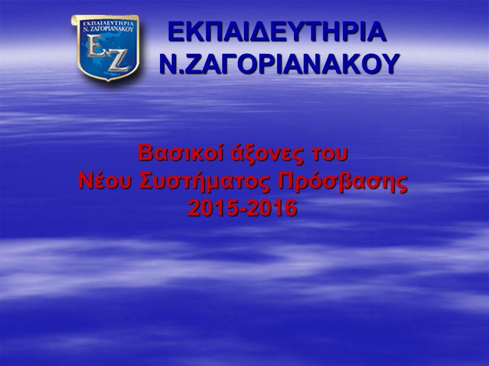 ΕΚΠΑΙΔΕΥΤΗΡΙΑ Ν.ΖΑΓΟΡΙΑΝΑΚΟΥ ΕΚΠΑΙΔΕΥΤΗΡΙΑ Ν.ΖΑΓΟΡΙΑΝΑΚΟΥ Βασικοί άξονες του Νέου Συστήματος Πρόσβασης 2015-2016