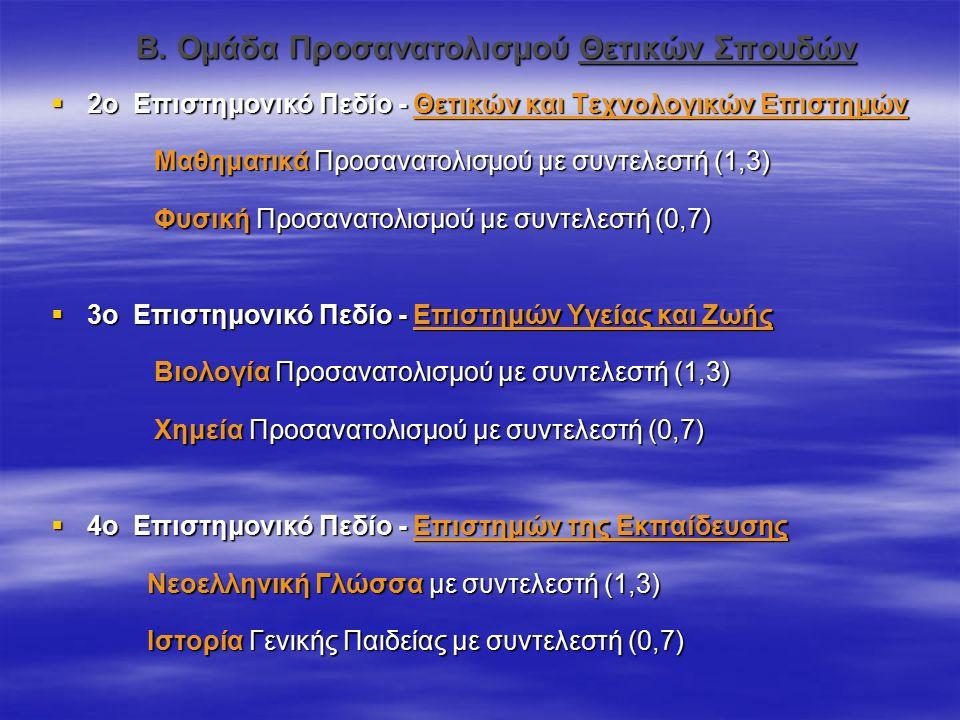 Β. Ομάδα Προσανατολισμού Θετικών Σπουδών  2ο Επιστημονικό Πεδίο - Θετικών και Τεχνολογικών Επιστημών Μαθηματικά Προσανατολισμού με συντελεστή (1,3) Μ