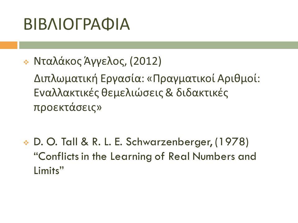 ΒΙΒΛΙΟΓΡΑΦΙΑ  Νταλάκος Άγγελος, (2012) Διπλωματική Εργασία : « Πραγματικοί Αριθμοί : Εναλλακτικές θεμελιώσεις & διδακτικές προεκτάσεις »  D.