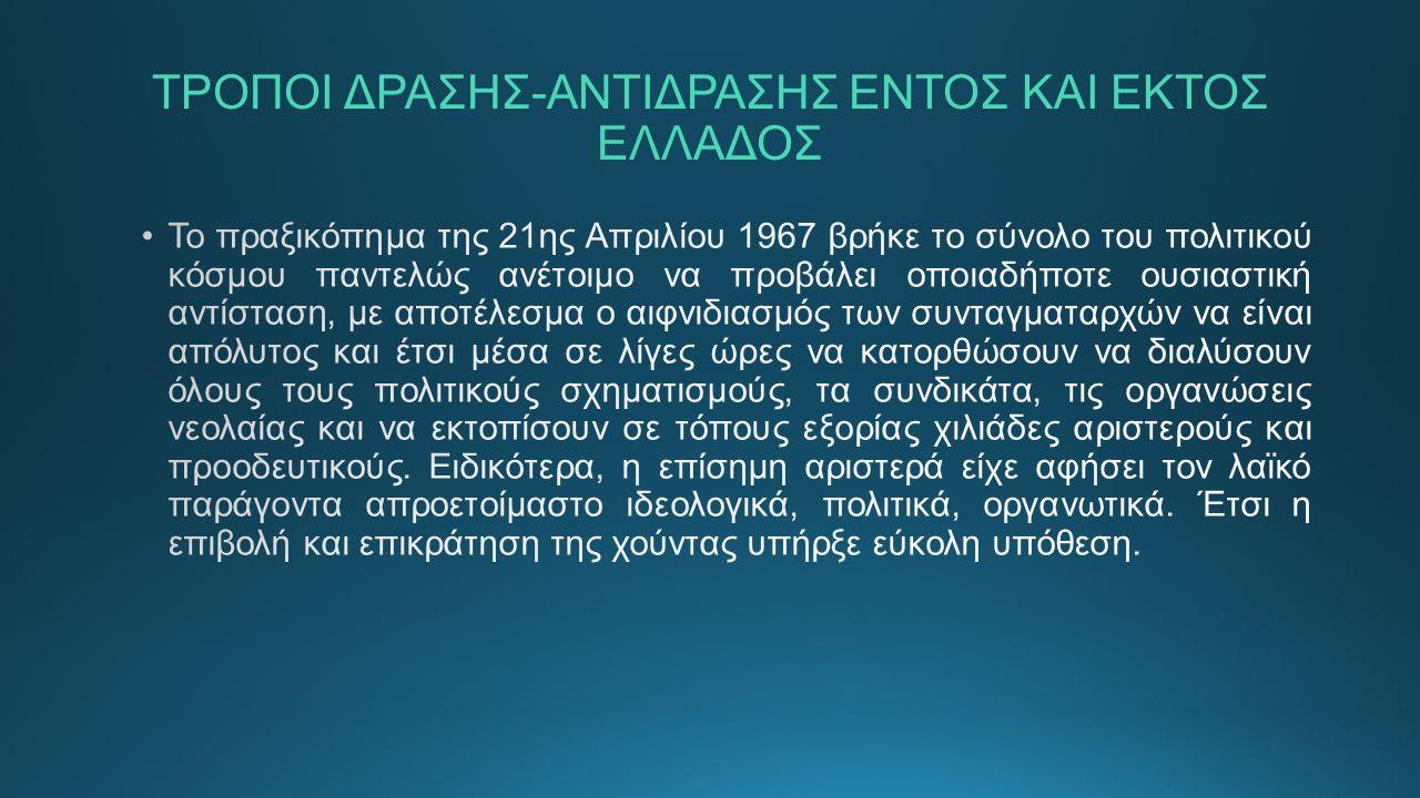 ΤΡΟΠΟΙ ΔΡΑΣΗΣ-ΑΝΤΙΔΡΑΣΗΣ ΕΝΤΟΣ ΚΑΙ ΕΚΤΟΣ ΕΛΛΑΔΟΣ