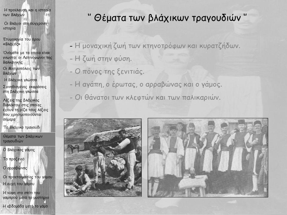 11 '' Θέματα των βλάχικων τραγουδιών '' - Η- Η μοναχική ζωή των κτηνοτρόφων και κυρατζήδων.