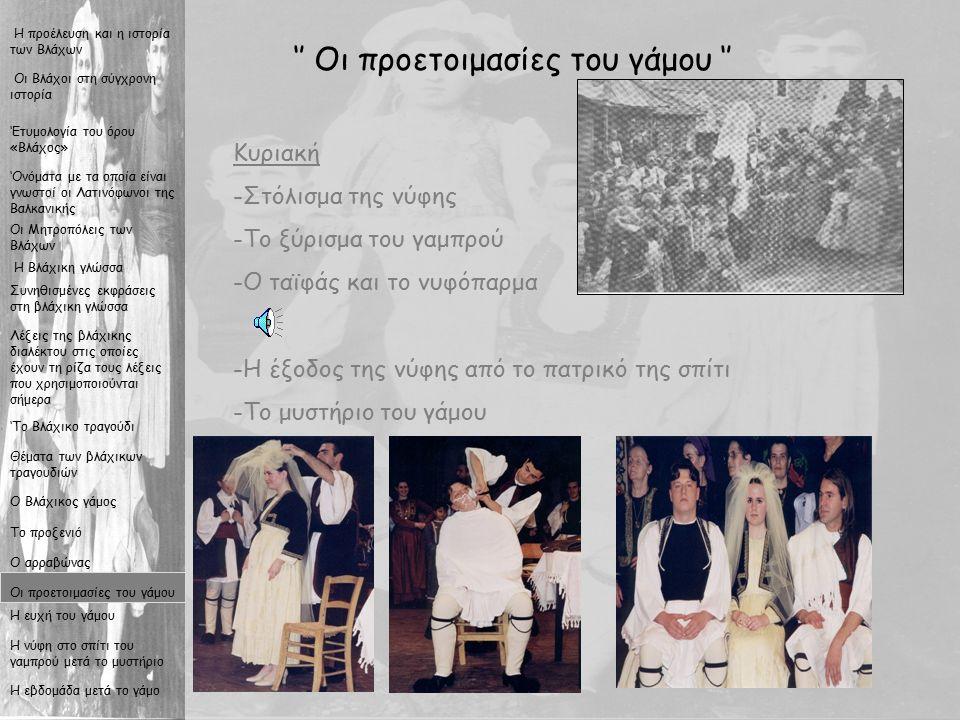16 '' Οι προετοιμασίες του γάμου '' Κυριακή -Σ-Στόλισμα της νύφης -Τ-Το ξύρισμα του γαμπρού -Ο-Ο ταϊφάς και το νυφόπαρμα -Η-Η έξοδος της νύφης από το πατρικό της σπίτι -Τ-Το μυστήριο του γάμου Οι Βλάχοι στη σύγχρονη ιστορία Η προέλευση και η ιστορία των Βλάχων Η Βλάχικη γλώσσα Συνηθισμένες εκφράσεις στη βλάχικη γλώσσα Λέξεις της βλάχικης διαλέκτου στις οποίες έχουν τη ρίζα τους λέξεις που χρησιμοποιούνται σήμερα 'Το Βλάχικο τραγούδι Θέματα των βλάχικων τραγουδιών Ο Βλάχικος γάμος Το προξενιό Ο αρραβώνας Οι προετοιμασίες του γάμου Η ευχή του γάμου Η νύφη στο σπίτι του γαμπρού μετά το μυστήριο Η εβδομάδα μετά το γάμο Οι Μητροπόλεις των Βλάχων 'Ονόματα με τα οποία είναι γνωστοί οι Λατινόφωνοι της Βαλκανικής 'Ετυμολογία του όρου «Βλάχος»