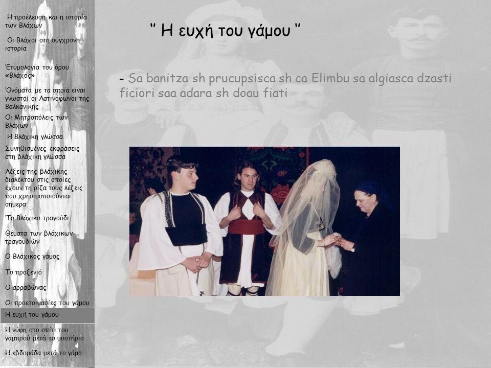 17 '' Η ευχή του γάμου '' - S- Sa banitza sh prucupsisca sh ca Elimbu sa algiasca dzasti ficiori saa adara sh doau fiati Οι Βλάχοι στη σύγχρονη ιστορία Η προέλευση και η ιστορία των Βλάχων Η Βλάχικη γλώσσα Συνηθισμένες εκφράσεις στη βλάχικη γλώσσα Λέξεις της βλάχικης διαλέκτου στις οποίες έχουν τη ρίζα τους λέξεις που χρησιμοποιούνται σήμερα 'Το Βλάχικο τραγούδι Θέματα των βλάχικων τραγουδιών Ο Βλάχικος γάμος Το προξενιό Ο αρραβώνας Οι προετοιμασίες του γάμου Η ευχή του γάμου Η νύφη στο σπίτι του γαμπρού μετά το μυστήριο Η εβδομάδα μετά το γάμο Οι Μητροπόλεις των Βλάχων 'Ονόματα με τα οποία είναι γνωστοί οι Λατινόφωνοι της Βαλκανικής 'Ετυμολογία του όρου «Βλάχος»