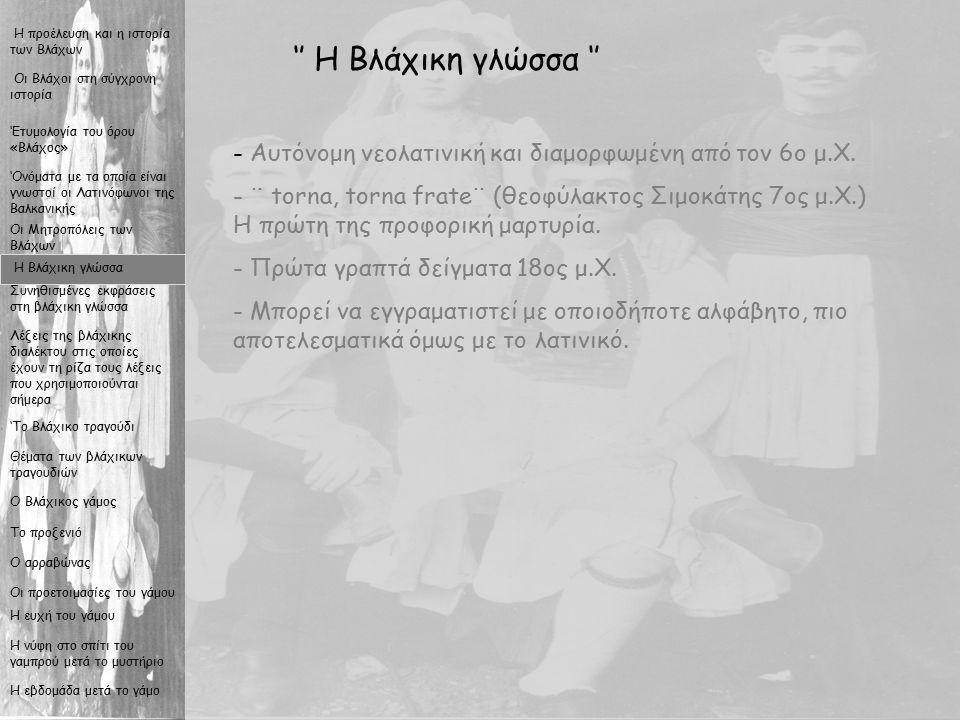 7 '' Η Βλάχικη γλώσσα '' - Α- Αυτόνομη νεολατινική και διαμορφωμένη από τον 6ο μ.Χ.