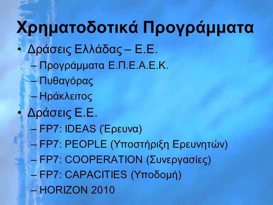 Χρηματοδοτικά Προγράμματα Δράσεις Ελλάδας – Ε.Ε. –Προγράμματα Ε.Π.Ε.Α.Ε.Κ.