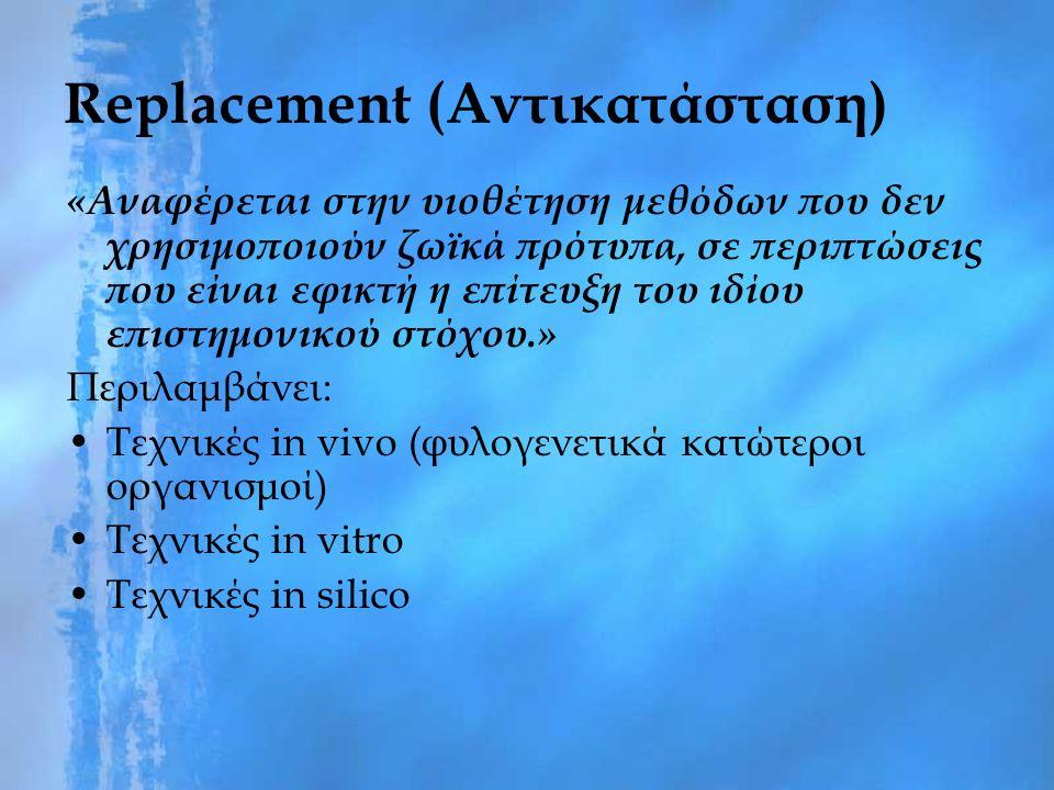 Replacement (Αντικατάσταση) «Αναφέρεται στην υιοθέτηση μεθόδων που δεν χρησιμοποιούν ζωϊκά πρότυπα, σε περιπτώσεις που είναι εφικτή η επίτευξη του ιδίου επιστημονικού στόχου.» Περιλαμβάνει: Τεχνικές in vivo (φυλογενετικά κατώτεροι οργανισμοί) Τεχνικές in vitro Τεχνικές in silico