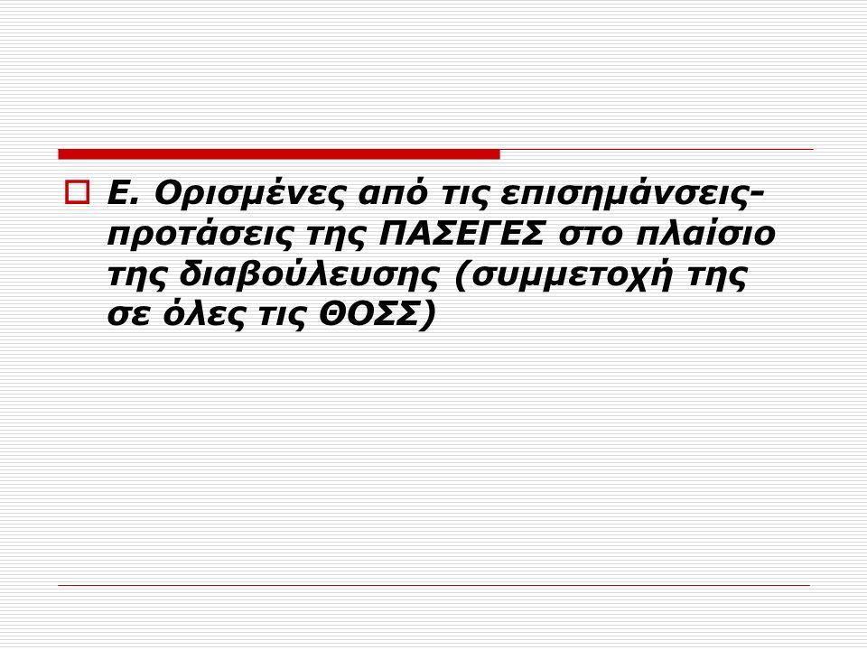  Ε. Ορισμένες από τις επισημάνσεις- προτάσεις της ΠΑΣΕΓΕΣ στο πλαίσιο της διαβούλευσης (συμμετοχή της σε όλες τις ΘΟΣΣ)