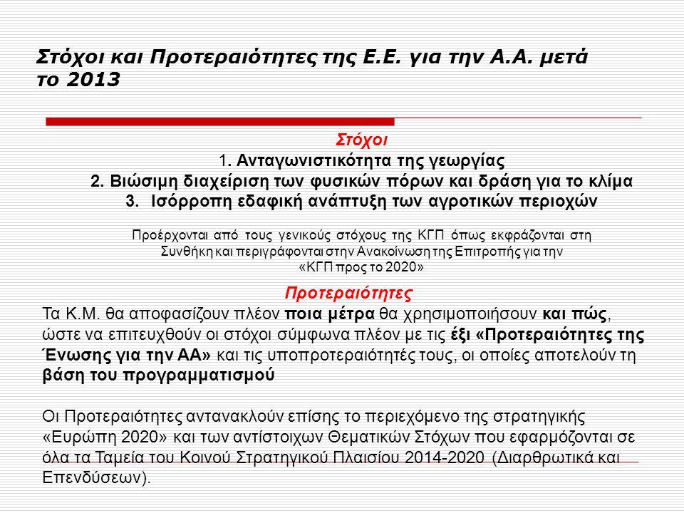 Χρηματοδότηση - Διαχείριση νέας περιόδου ΠΑΑ (Συμβούλιο της 08.02.2013, Συμφωνία 26.06.2013)  Ελάχιστο ποσοστό συνεισφοράς ΕΓΤΑΑ 20%  Μέγιστα ποσοστά συνεισφοράς ΕΓΤΑΑ για όλα τα μέτρα έως: –85% στις λιγότερο ανεπτυγμένες περιφέρειες(μ.ο.ΑΕΠ<75% μ.
