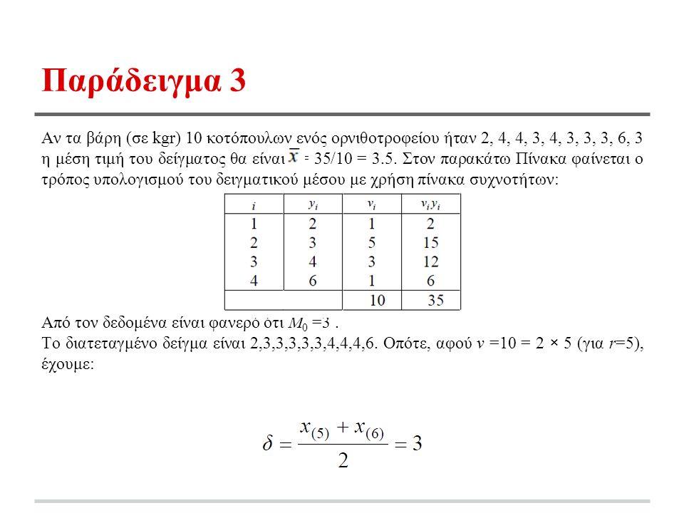 Παράδειγμα 3 Αν τα βάρη (σε kgr) 10 κοτόπουλων ενός ορνιθοτροφείου ήταν 2, 4, 4, 3, 4, 3, 3, 3, 6, 3 η μέση τιμή του δείγματος θα είναι = 35/10 = 3.5.