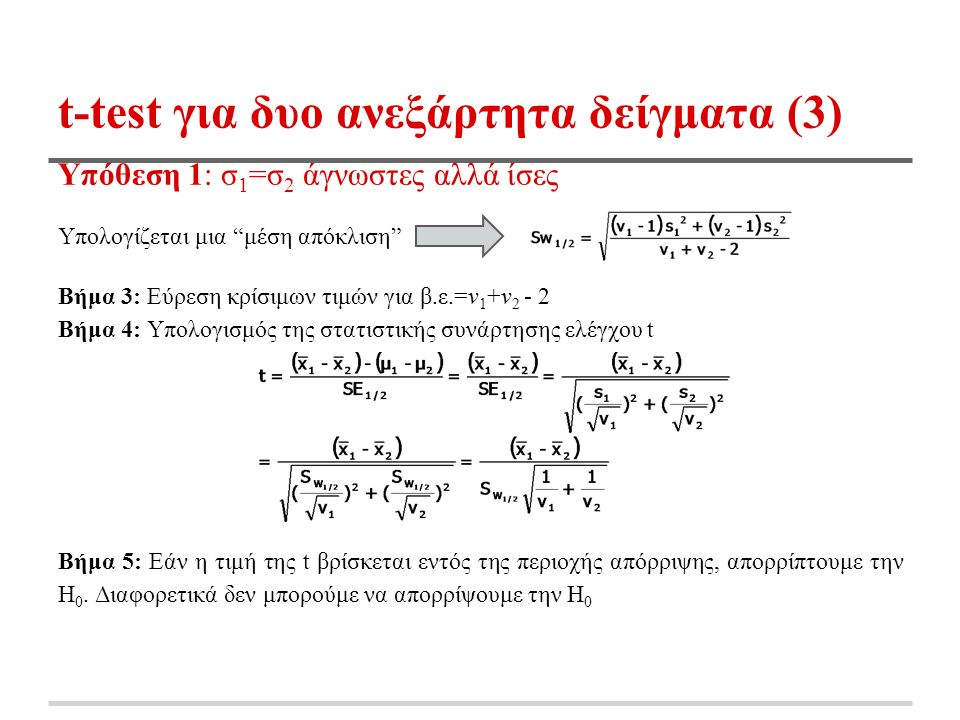 t-test για δυο ανεξάρτητα δείγματα (3) Υπόθεση 1: σ 1 =σ 2 άγνωστες αλλά ίσες Υπολογίζεται μια μέση απόκλιση Βήμα 3: Εύρεση κρίσιμων τιμών για β.ε.=ν 1 +ν 2 - 2 Βήμα 4: Υπολογισμός της στατιστικής συνάρτησης ελέγχου t Βήμα 5: Εάν η τιμή της t βρίσκεται εντός της περιοχής απόρριψης, απορρίπτουμε την Η 0.
