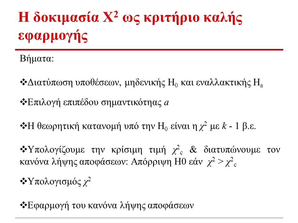 Η δοκιμασία Χ 2 ως κριτήριο καλής εφαρμογής Βήματα: ❖ Διατύπωση υποθέσεων, μηδενικής H 0 και εναλλακτικής H a ❖ Επιλογή επιπέδου σημαντικότηας a ❖ Η θεωρητική κατανομή υπό την H 0 είναι η χ 2 με k - 1 β.ε.