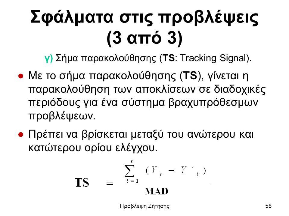 Σφάλματα στις προβλέψεις (3 από 3) γ) Σήμα παρακολούθησης (ΤS: Tracking Signal). ●Με το σήμα παρακολούθησης (TS), γίνεται η παρακολούθηση των αποκλίσε