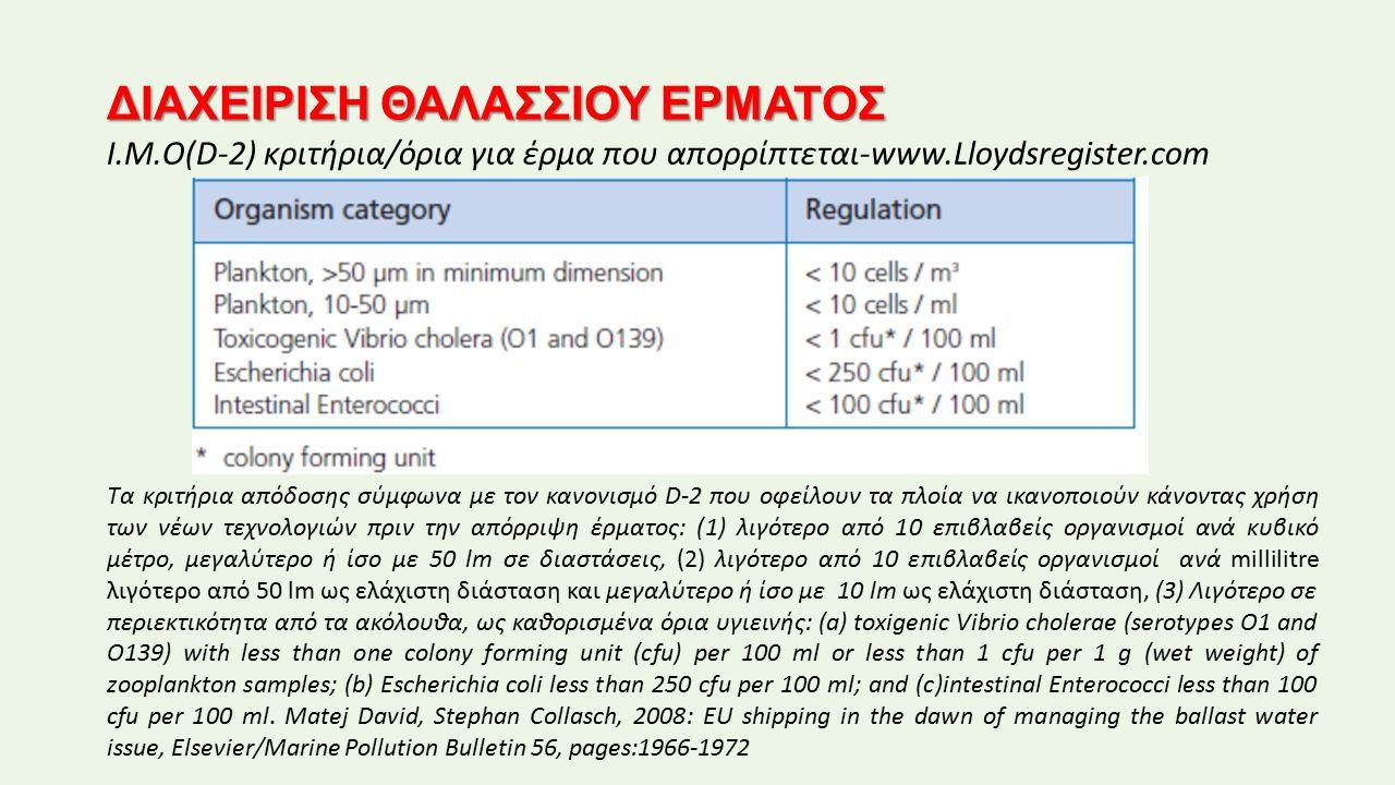 ΔΙΑΧΕΙΡΙΣΗ ΘΑΛΑΣΣΙΟΥ ΕΡΜΑΤΟΣ I.Μ.Ο(D-2) κριτήρια/όρια για έρμα που απορρίπτεται-www.Lloydsregister.com Τα κριτήρια απόδοσης σύμφωνα με τον κανονισμό D-2 που οφείλουν τα πλοία να ικανοποιούν κάνοντας χρήση των νέων τεχνολογιών πριν την απόρριψη έρματος: (1) λιγότερο από 10 επιβλαβείς οργανισμοί ανά κυβικό μέτρο, μεγαλύτερο ή ίσο με 50 lm σε διαστάσεις, (2) λιγότερο από 10 επιβλαβείς οργανισμοί ανά millilitre λιγότερο από 50 lm ως ελάχιστη διάσταση και μεγαλύτερο ή ίσο με 10 lm ως ελάχιστη διάσταση, (3) Λιγότερο σε περιεκτικότητα από τα ακόλουθα, ως καθορισμένα όρια υγιεινής: (a) toxigenic Vibrio cholerae (serotypes O1 and O139) with less than one colony forming unit (cfu) per 100 ml or less than 1 cfu per 1 g (wet weight) of zooplankton samples; (b) Escherichia coli less than 250 cfu per 100 ml; and (c)intestinal Enterococci less than 100 cfu per 100 ml.