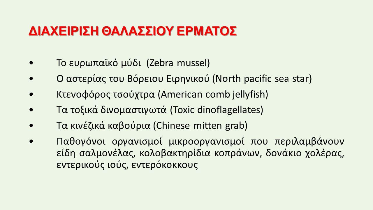 ΔΙΑΧΕΙΡΙΣΗ ΘΑΛΑΣΣΙΟΥ ΕΡΜΑΤΟΣ Το ευρωπαϊκό μύδι (Zebra mussel) Ο αστερίας του Βόρειου Ειρηνικού (North pacific sea star) Κτενοφόρος τσούχτρα (American comb jellyfish) Τα τοξικά δινομαστιγωτά (Toxic dinoflagellates) Τα κινέζικά καβούρια (Chinese mitten grab) Παθογόνοι οργανισμοί μικροοργανισμοί που περιλαμβάνουν είδη σαλμονέλας, κολοβακτηρίδια κοπράνων, δονάκιο χολέρας, εντερικούς ιούς, εντερόκοκκους