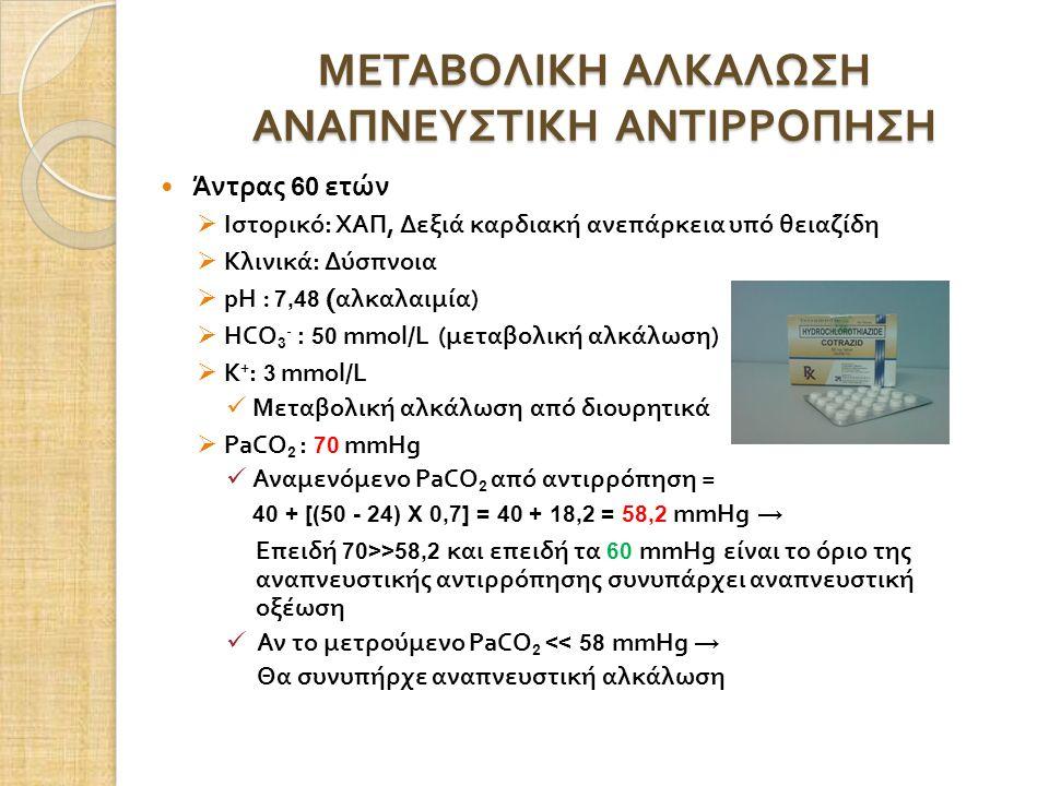 ΜΕΤΑΒΟΛΙΚΗ ΑΛΚΑΛΩΣΗ ΑΝΑΠΝΕΥΣΤΙΚΗ ΑΝΤΙΡΡΟΠΗΣΗ Άντρας 60 ετών  Ιστορικό : ΧΑΠ, Δεξιά καρδιακή ανεπάρκεια υπό θειαζίδη  Κλινικά : Δύσπνοια  pH : 7,48 ( αλκαλαιμία )  HCO 3 - : 50 mmol/L ( μεταβολική αλκάλωση )  Κ + : 3 mmol/L Μεταβολική αλκάλωση από διουρητικά  PaCO 2 : 70 mmHg Αναμενόμενο PaCO 2 από αντιρρόπηση = 40 + [(50 - 24) Χ 0,7] = 40 + 18,2 = 58,2 mmHg → Επειδή 70>>58,2 και επειδή τα 60 mmHg είναι το όριο της αναπνευστικής αντιρρόπησης συνυπάρχει αναπνευστική οξέωση Αν το μετρούμενο PaCO 2 << 58 mmHg → Θα συνυπήρχε αναπνευστική αλκάλωση
