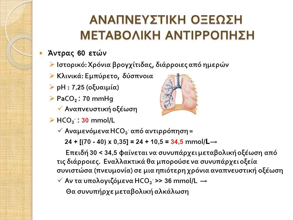 ΑΝΑΠΝΕΥΣΤΙΚΗ ΟΞΕΩΣΗ ΜΕΤΑΒΟΛΙΚΗ ΑΝΤΙΡΡΟΠΗΣΗ Άντρας 60 ετών  Ιστορικό : Χρόνια βρογχίτιδας, διάρροιες από ημερών  Κλινικά : Εμπύρετο, δύσπνοια  pH : 7,25 (οξυαιμία )  PaCO 2 : 70 mmHg Αναπνευστική οξέωση  HCO 3 - : 30 mmol/L Αναμενόμενα HCO 3 - από αντιρρόπηση = 24 + [(70 - 40) x 0,35] = 24 + 10,5 = 34,5 mmol/ L → Επειδή 30 < 34,5 φαίνεται να συνυπάρχει μεταβολική οξέωση από τις διάρροιες.