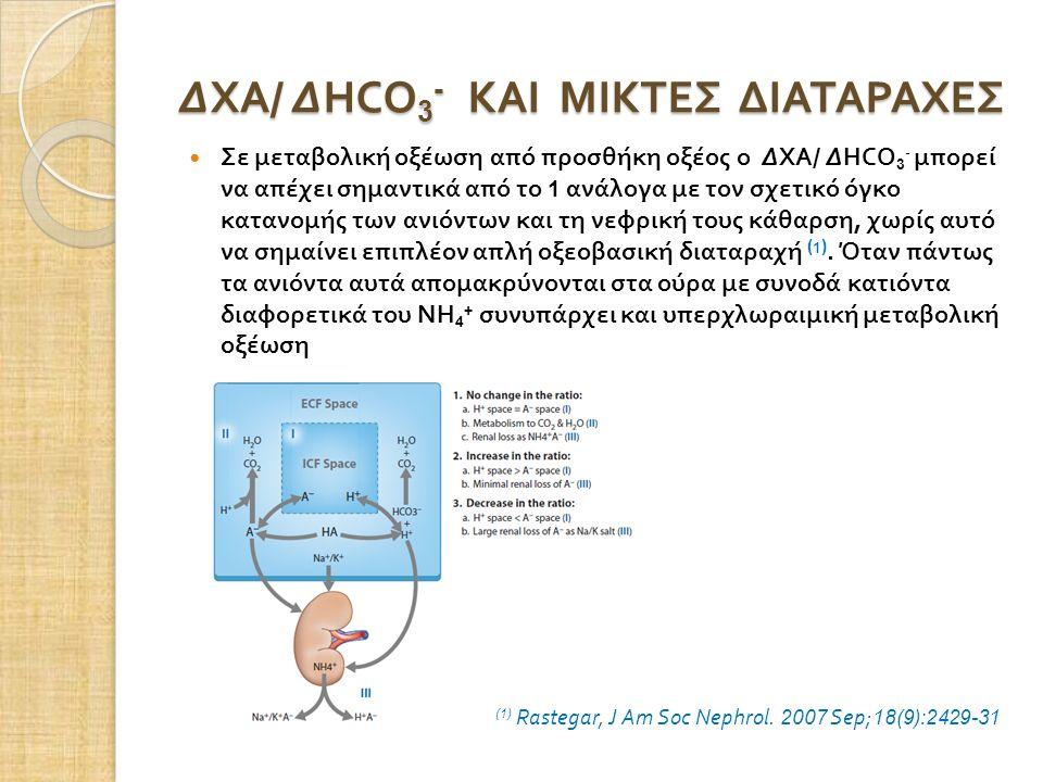 ΔΧΑ / ΔHCO 3 - ΚΑΙ ΜΙΚΤΕΣ ΔΙΑΤΑΡΑΧΕΣ Σε μεταβολική οξέωση από προσθήκη οξέος ο ΔΧΑ / ΔHCO 3 - μπορεί να απέχει σημαντικά από το 1 ανάλογα με τον σχετικό όγκο κατανομής των ανιόντων και τη νεφρική τους κάθαρση, χωρίς αυτό να σημαίνει επιπλέον απλή οξεοβασική διαταραχή ( 1 ).