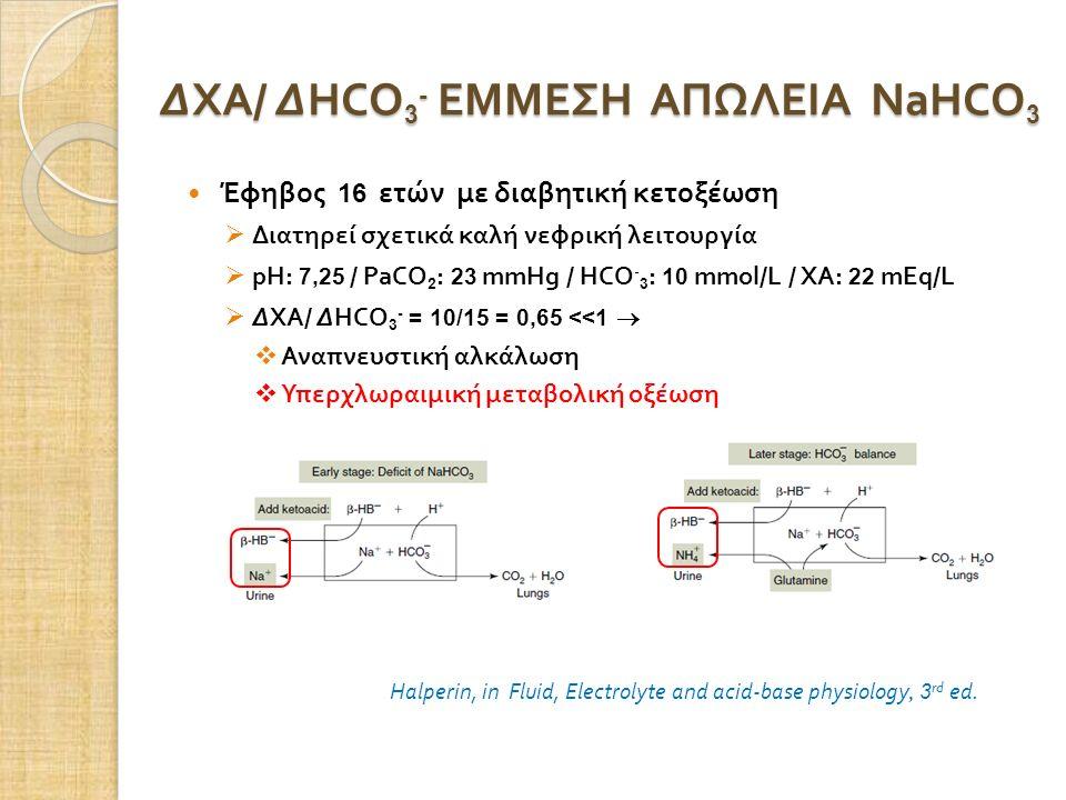 ΔΧΑ / ΔHCO 3 - ΕΜΜΕΣΗ ΑΠΩΛΕΙΑ NaHCO 3 Halperin, in Fluid, Electrolyte and acid-base physiology, 3 rd ed. Έφηβος 16 ετών με διαβητική κετοξέωση  Διατη