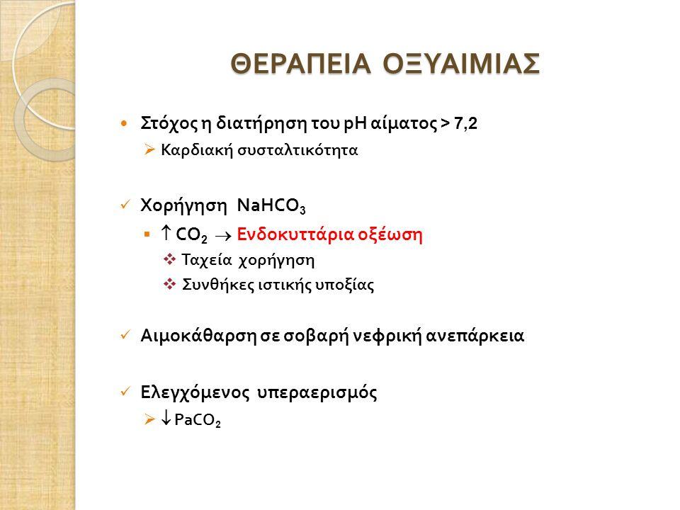 ΘΕΡΑΠΕΙΑ ΟΞΥΑΙΜΙΑΣ Στόχος η διατήρηση του pH αίματος > 7,2  Καρδιακή συσταλτικότητα Χορήγηση NaHCO 3   CO 2  Ενδοκυττάρια οξέωση  Ταχεία χορήγηση  Συνθήκες ιστικής υποξίας Αιμοκάθαρση σε σοβαρή νεφρική ανεπάρκεια Ελεγχόμενος υπεραερισμός   PaCO 2