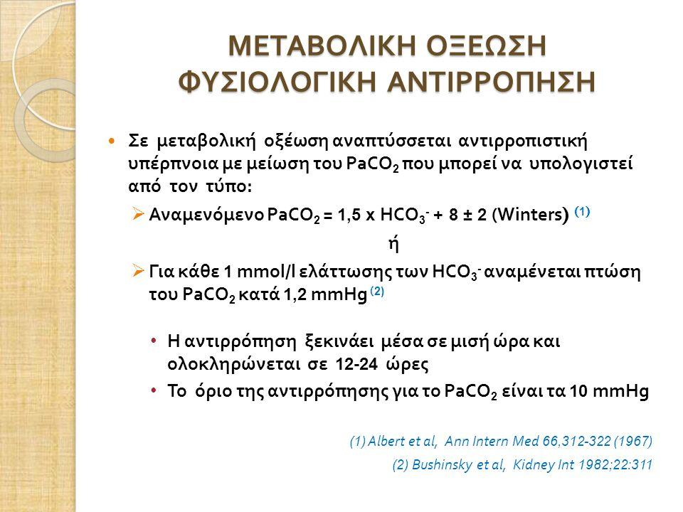 ΜΕΤΑΒΟΛΙΚΗ ΟΞΕΩΣΗ ΦΥΣΙΟΛΟΓΙΚΗ ΑΝΤΙΡΡΟΠΗΣΗ Σε μεταβολική οξέωση αναπτύσσεται αντιρροπιστική υπέρπνοια με μείωση του PaCO 2 που μπορεί να υπολογιστεί από τον τύπο :  Αναμενόμενο PaCO 2 = 1,5 x HCO 3 - + 8 ± 2 (Winters ) ( 1 ) ή  Για κάθε 1 mmol/l ελάττωσης των HCO 3 - αναμένεται πτώση του PaCO 2 κατά 1,2 mmHg ( 2) Η αντιρρόπηση ξεκινάει μέσα σε μισή ώρα και ολοκληρώνεται σε 12-24 ώρες Το όριο της αντιρρόπησης για το PaCO 2 είναι τα 10 mmHg (1) Albert et al, Ann Intern Med 66,312-322 (1967) (2) Bushinsky et al, Kidney Int 1982;22:311