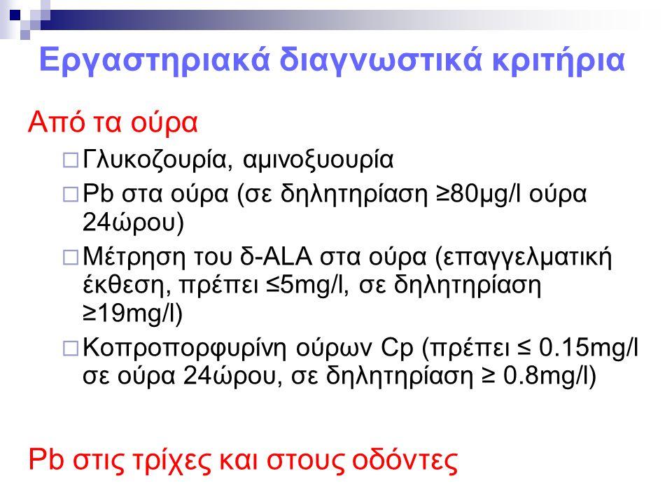 Εργαστηριακά διαγνωστικά κριτήρια Από τα ούρα  Γλυκοζουρία, αμινοξυουρία  Pb στα ούρα (σε δηλητηρίαση ≥80μg/l ούρα 24ώρου)  Μέτρηση του δ-ALA στα ούρα (επαγγελματική έκθεση, πρέπει ≤5mg/l, σε δηλητηρίαση ≥19mg/l)  Κοπροπορφυρίνη ούρων Cp (πρέπει ≤ 0.15mg/l σε ούρα 24ώρου, σε δηλητηρίαση ≥ 0.8mg/l) Pb στις τρίχες και στους οδόντες