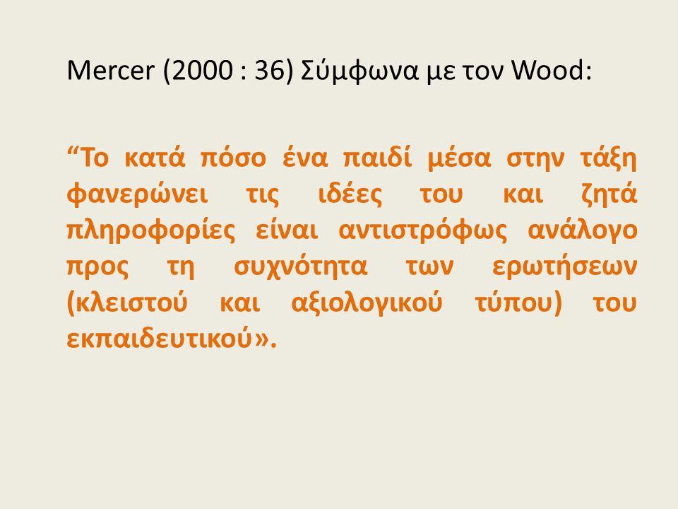 Mercer (2000 : 36) Σύμφωνα με τον Wood: Το κατά πόσο ένα παιδί μέσα στην τάξη φανερώνει τις ιδέες του και ζητά πληροφορίες είναι αντιστρόφως ανάλογο προς τη συχνότητα των ερωτήσεων (κλειστού και αξιολογικού τύπου) του εκπαιδευτικού».