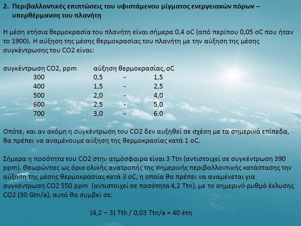 Η μέση ετήσια θερμοκρασία του πλανήτη είναι σήμερα 0,4 oC (από περίπου 0,05 οC που ήταν το 1900). Η αύξηση της μέσης θερμοκρασίας του πλανήτη με την α
