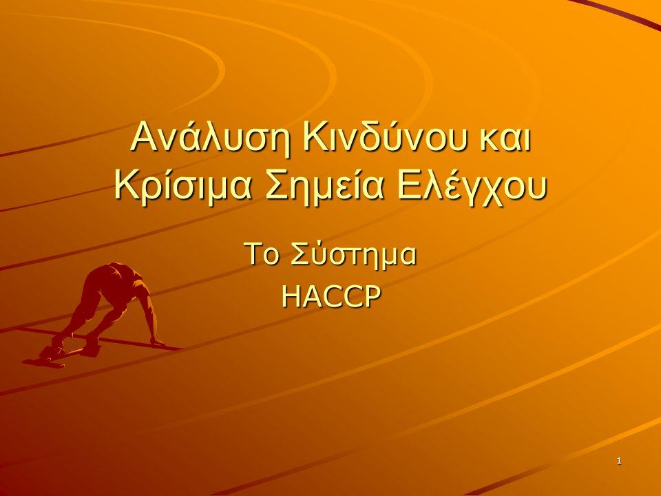 1 Ανάλυση Κινδύνου και Κρίσιμα Σημεία Ελέγχου Το Σύστημα HACCP