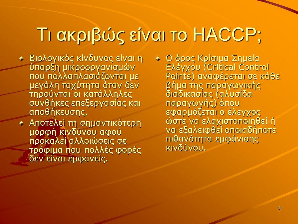 9 Τι ακριβώς είναι το HACCP; Βιολογικός κίνδυνος είναι η ύπαρξη μικροοργανισμών που πολλαπλασιάζονται με μεγάλη ταχύτητα όταν δεν τηρούνται οι κατάλληλες συνθήκες επεξεργασίας και αποθήκευσης.