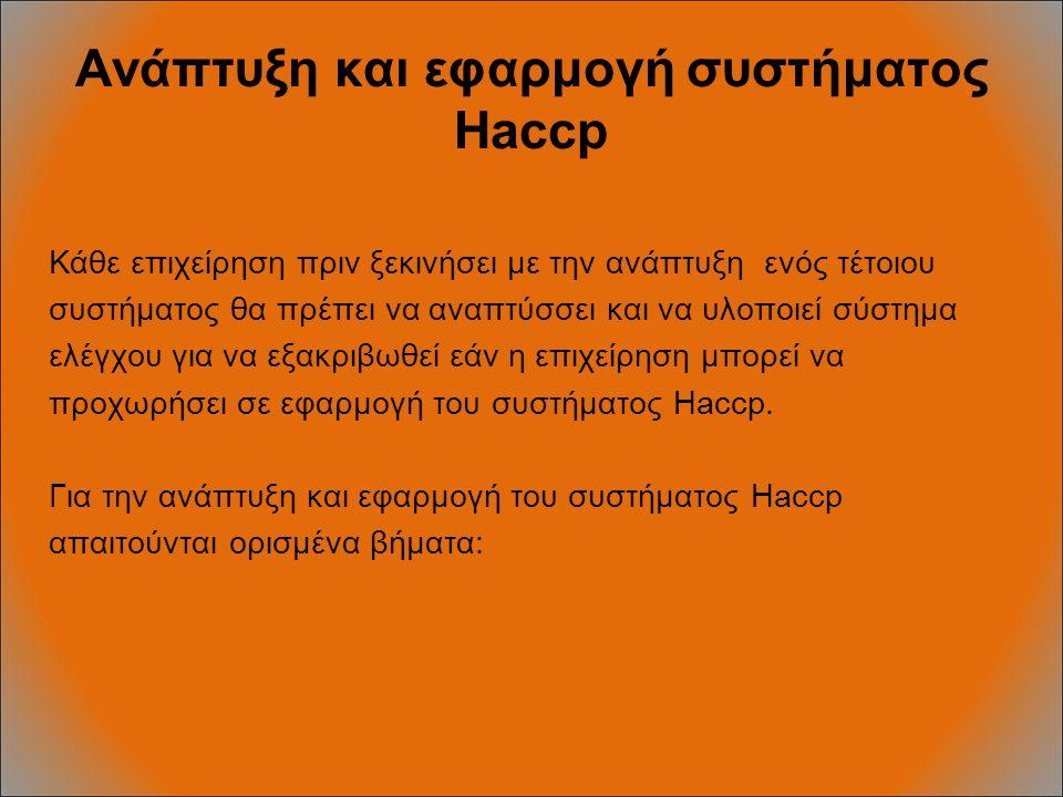 Ανάπτυξη και εφαρμογή συστήματος Haccp Κάθε επιχείρηση πριν ξεκινήσει με την ανάπτυξη ενός τέτοιου συστήματος θα πρέπει να αναπτύσσει και να υλοποιεί σύστημα ελέγχου για να εξακριβωθεί εάν η επιχείρηση μπορεί να προχωρήσει σε εφαρμογή του συστήματος Haccp.
