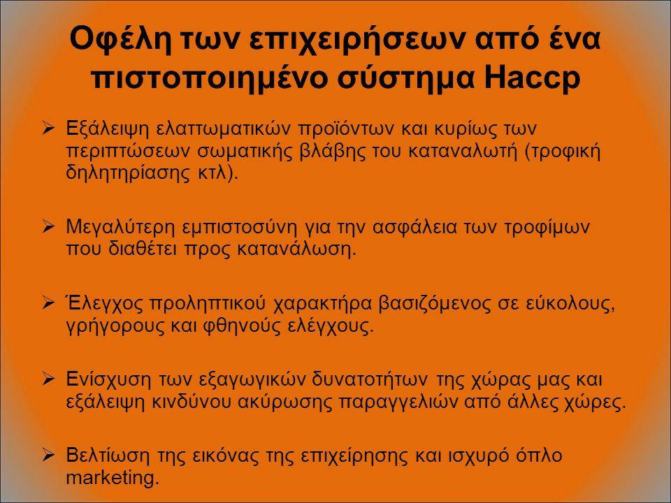 Οφέλη των επιχειρήσεων από ένα πιστοποιημένο σύστημα Haccp  Εξάλειψη ελαττωματικών προϊόντων και κυρίως των περιπτώσεων σωματικής βλάβης του καταναλωτή (τροφική δηλητηρίασης κτλ).