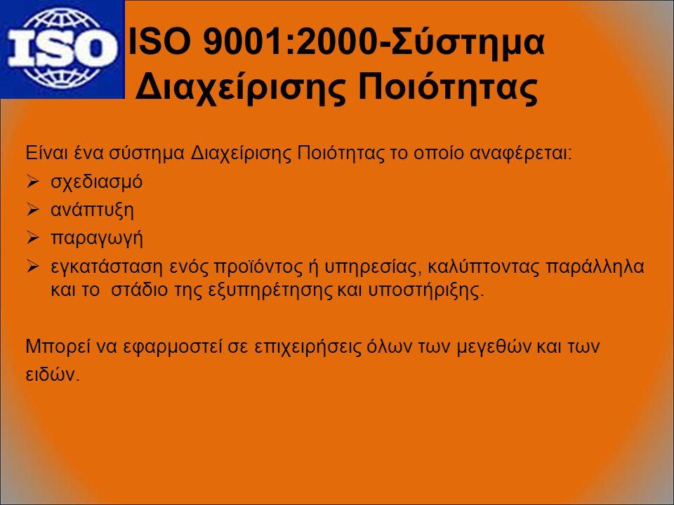 ISO 9001:2000-Σύστημα Διαχείρισης Ποιότητας Είναι ένα σύστημα Διαχείρισης Ποιότητας το οποίο αναφέρεται:  σχεδιασμό  ανάπτυξη  παραγωγή  εγκατάσταση ενός προϊόντος ή υπηρεσίας, καλύπτοντας παράλληλα και το στάδιο της εξυπηρέτησης και υποστήριξης.