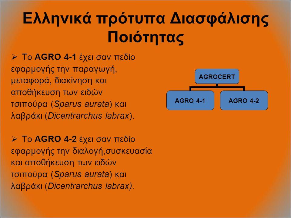 Ελληνικά πρότυπα Διασφάλισης Ποιότητας  To AGRO 4-1 έχει σαν πεδίο εφαρμογής την παραγωγή, μεταφορά, διακίνηση και αποθήκευση των ειδών τσιπούρα (Sparus aurata) και λαβράκι (Dicentrarchus labrax).