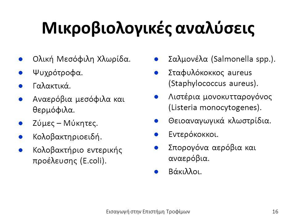 Μικροβιολογικές αναλύσεις ●Ολική Μεσόφιλη Χλωρίδα.