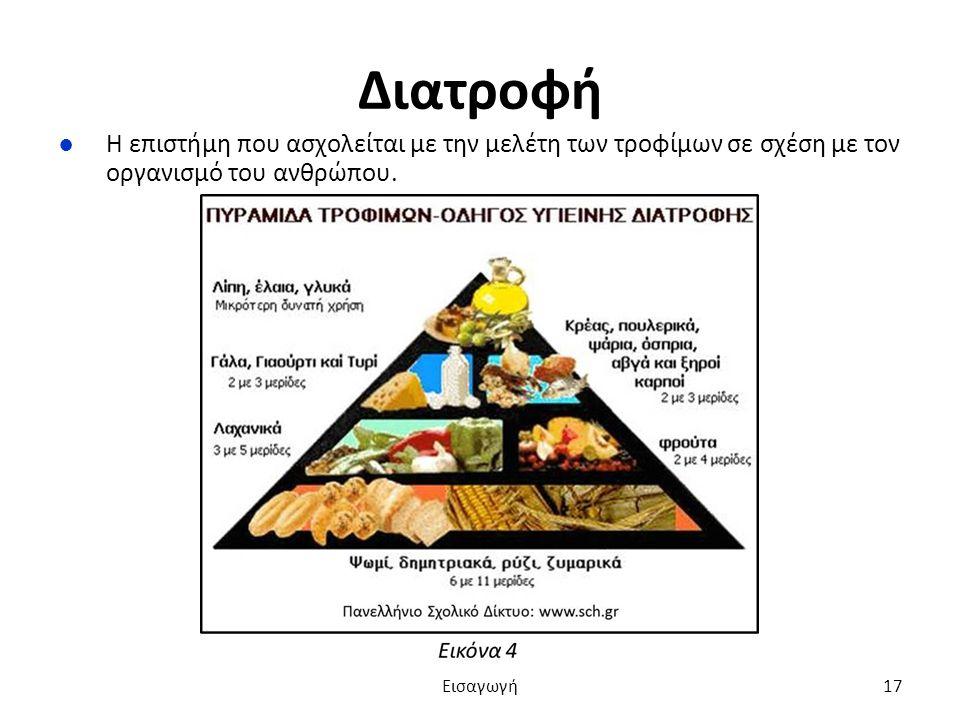 Διατροφή ●Η επιστήμη που ασχολείται με την μελέτη των τροφίμων σε σχέση με τον οργανισμό του ανθρώπου.